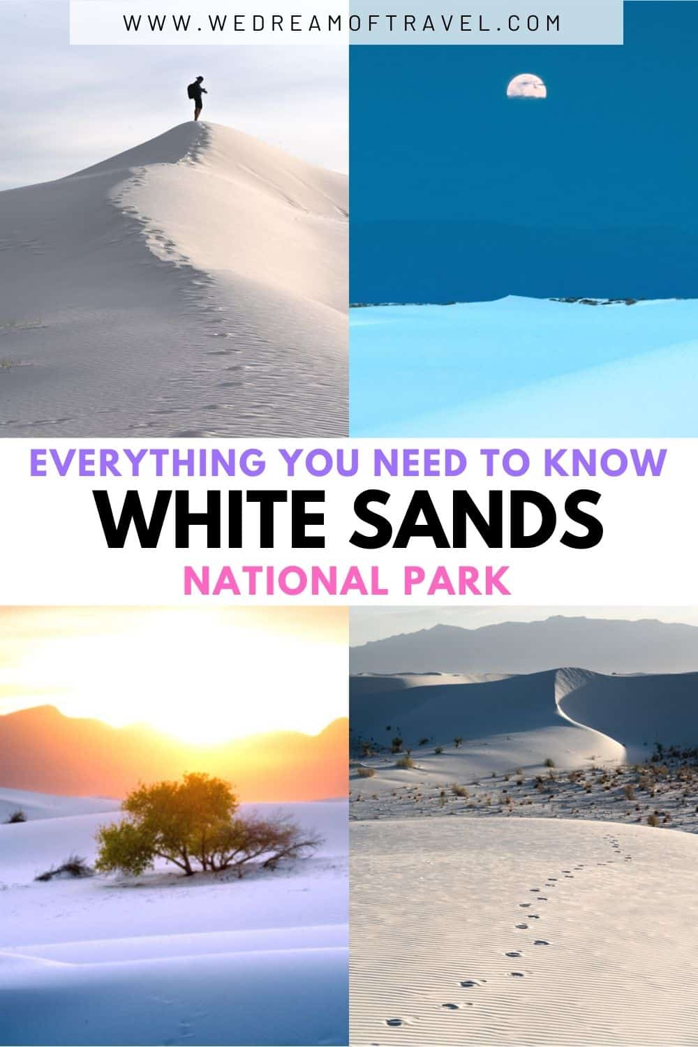 Discover everything you need to know about visiting White Sands National Park in New Mexico.  Previously White Sands National Monument, it is one of the newest national parks and has plenty to offer.  This ultimate guide to White Sands will help you plan the perfect trip.  White Sands New Mexico | White Sands National Park |  Travel New Mexico