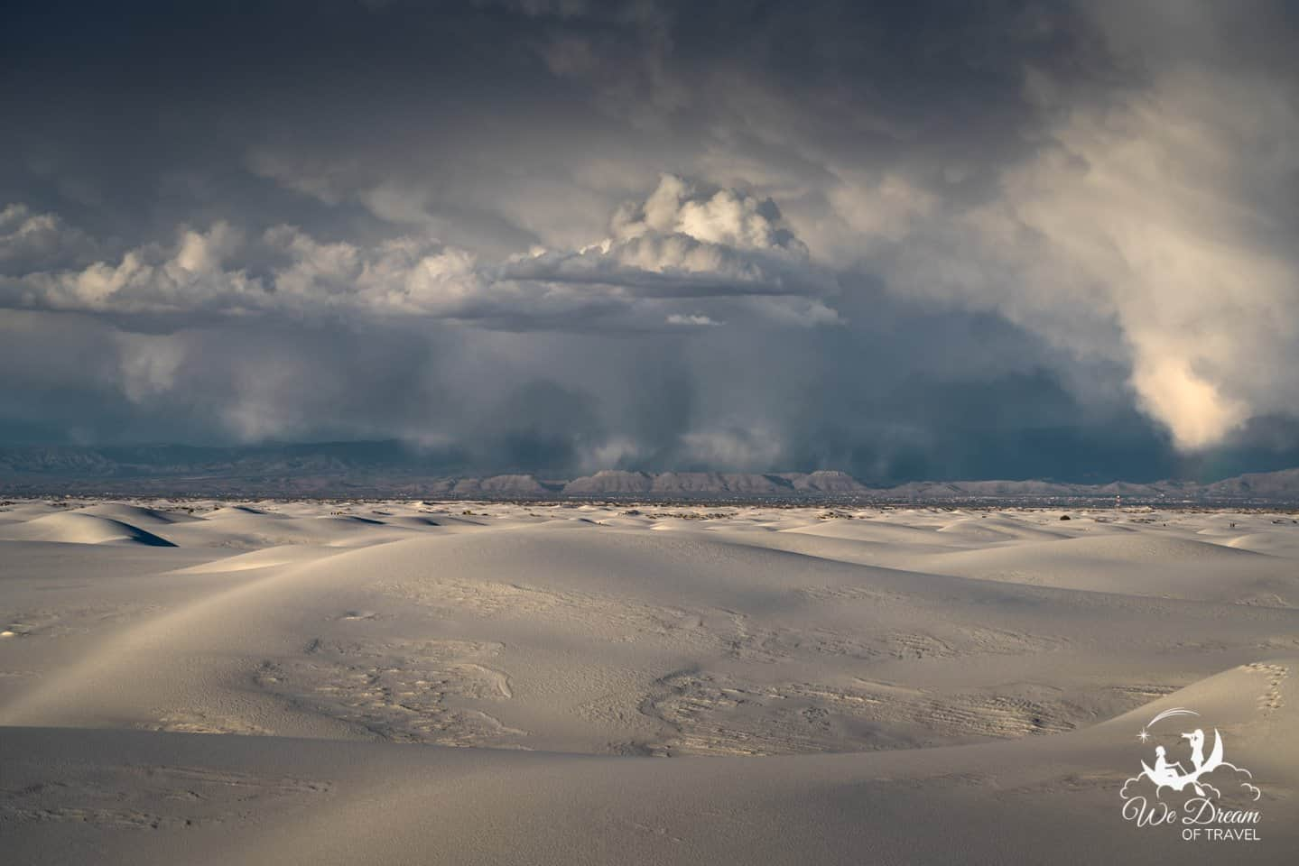 Brooding clouds over White Sands National Park.