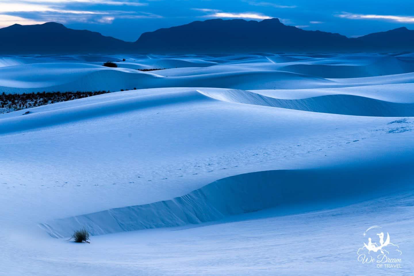 Blue hour photography in White Sands National Park.