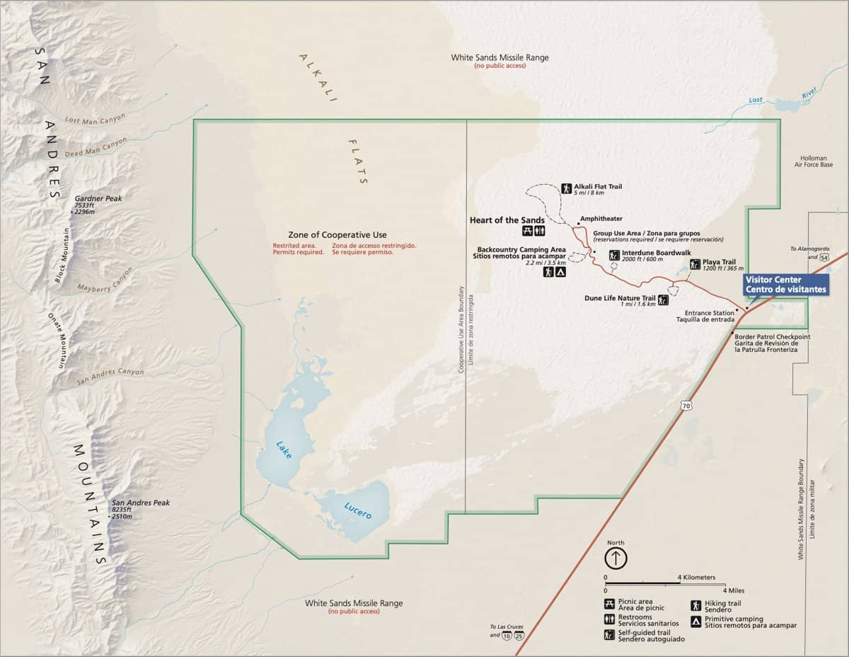 Official NPS White Sands National Park Map