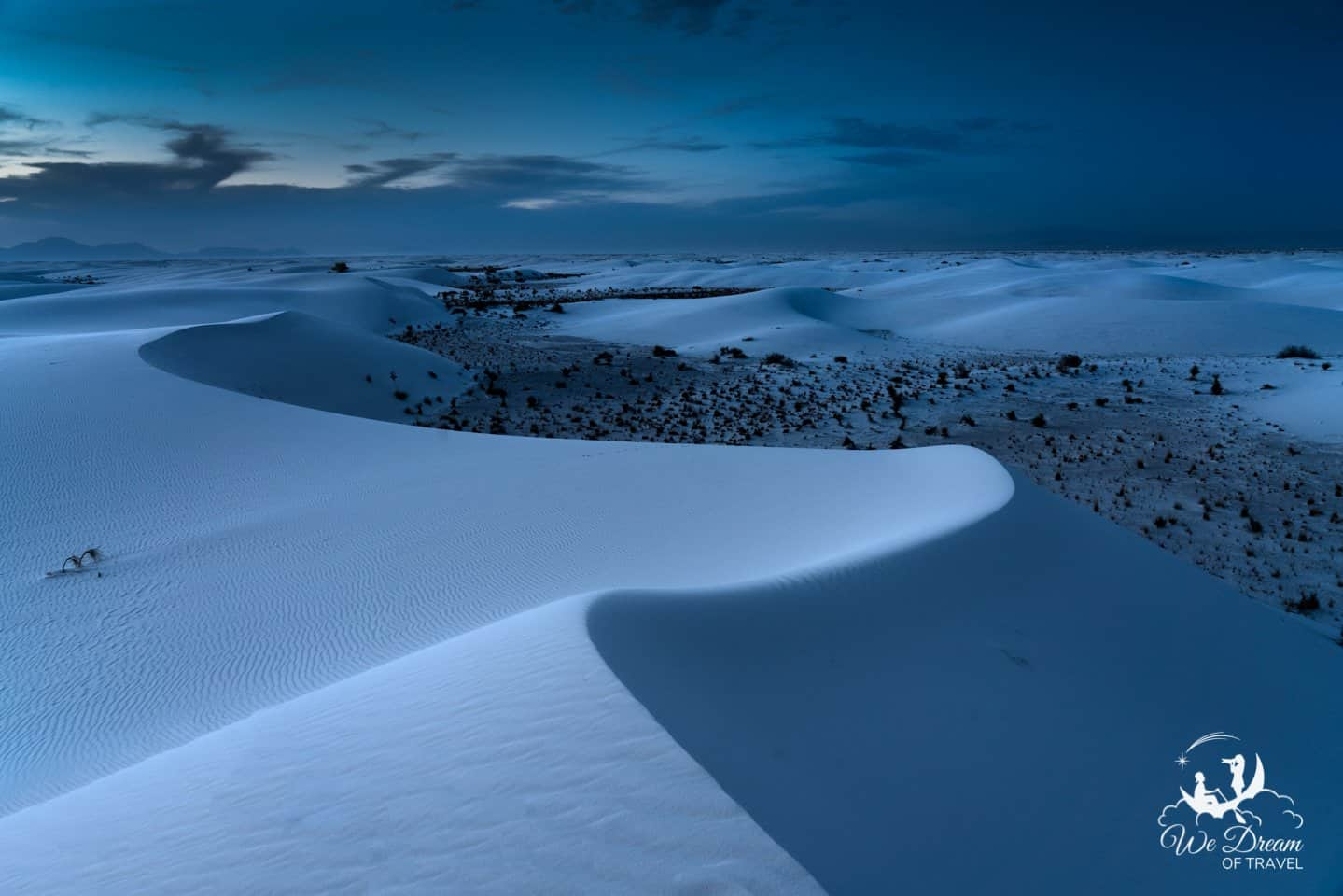 Moody White Sands picture showing the sand dunes after blue hour.