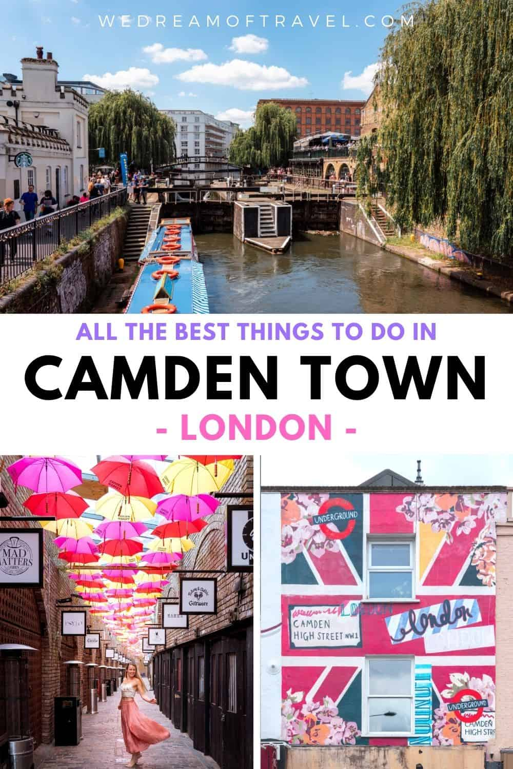 Discover the most eclectic and fun neighbourhood in London.  You'll find plenty of things to do in Camden Town and nearby including the iconic Camden Market as well as local secrets.  #Camden #CamdenTown #London #LondonTravel #CamdenLondon
