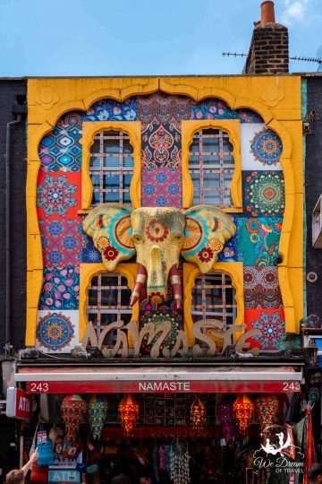 Bright, colourful shops line Camden High Street