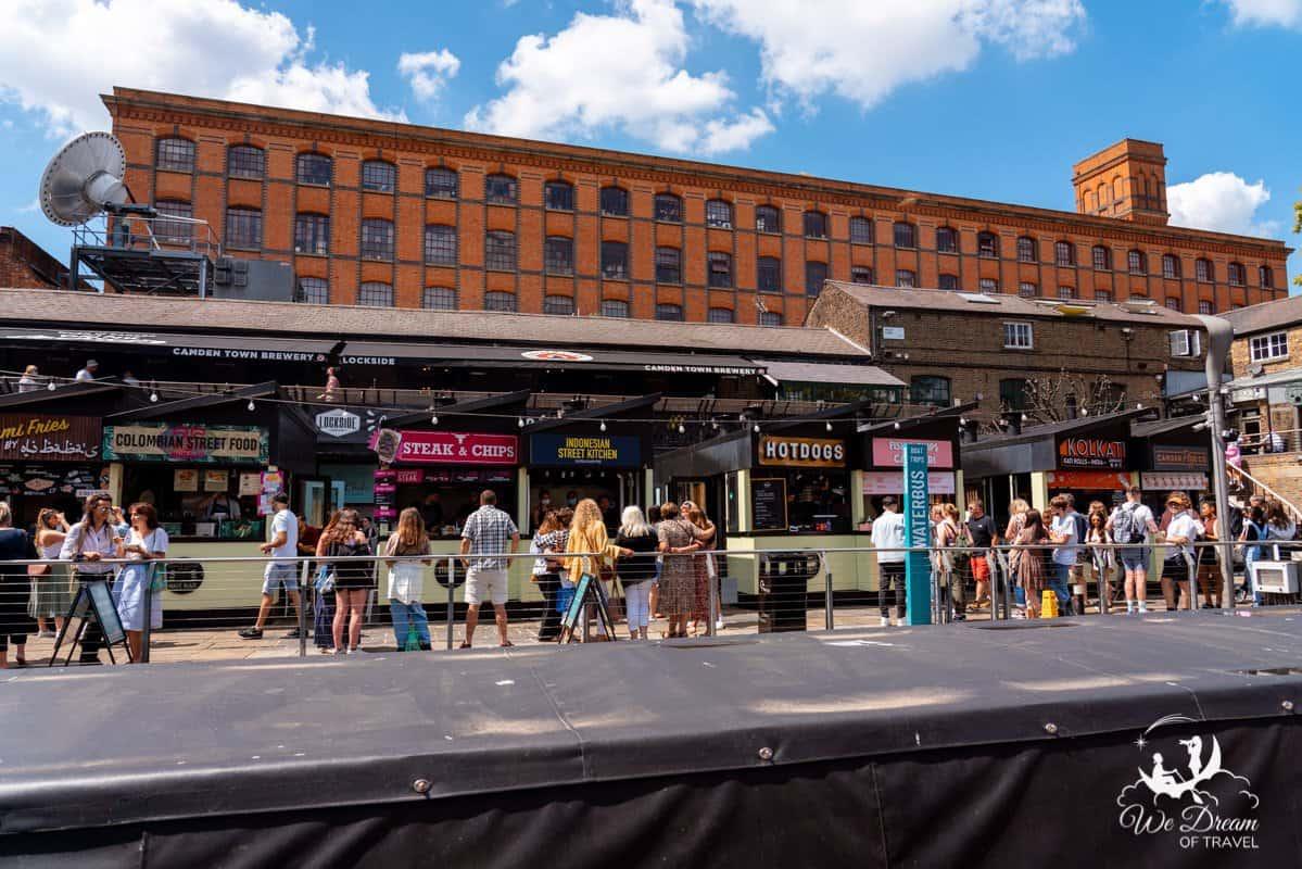 Street food stalls in Camden Market