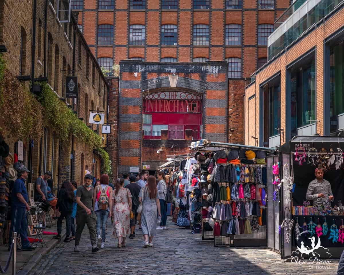 Camden Lock Market on a Saturday morning.