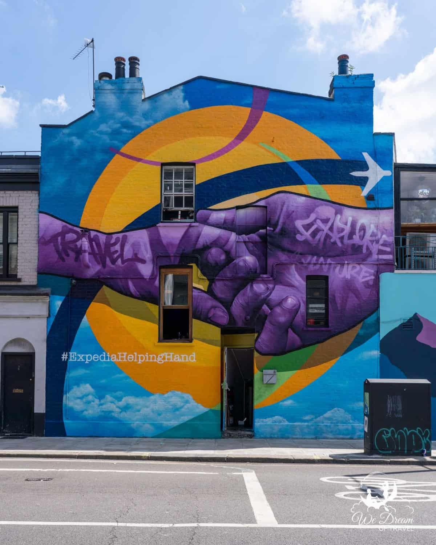 London's helping hand mural in Chalk Farm Road Camden