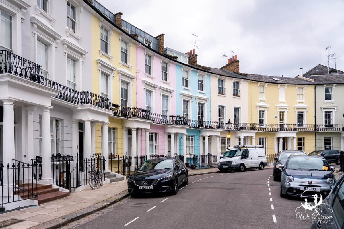Colourful pastel houses in Chalcot Crescent, Primrose Hill, London