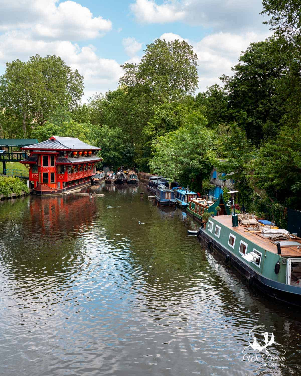 Feng Shang Princess Chinese restaurant on the left and narrowboats on the right along the Regent's Canal