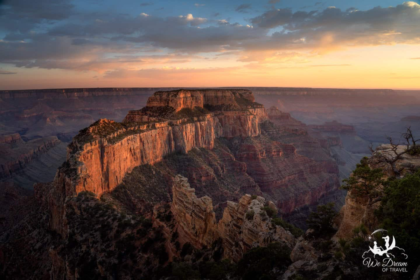 Cape Royal glowing in golden hour light on the Grand Canyon North Rim.