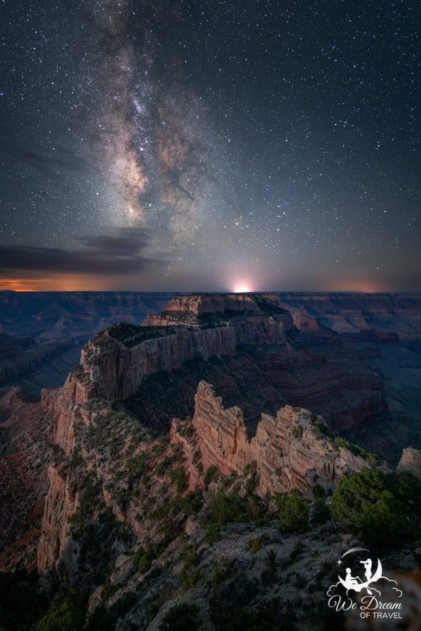Located just 2.5 hours from Page, Arizona is the Grand Canyon North Rim, pictured here at night.