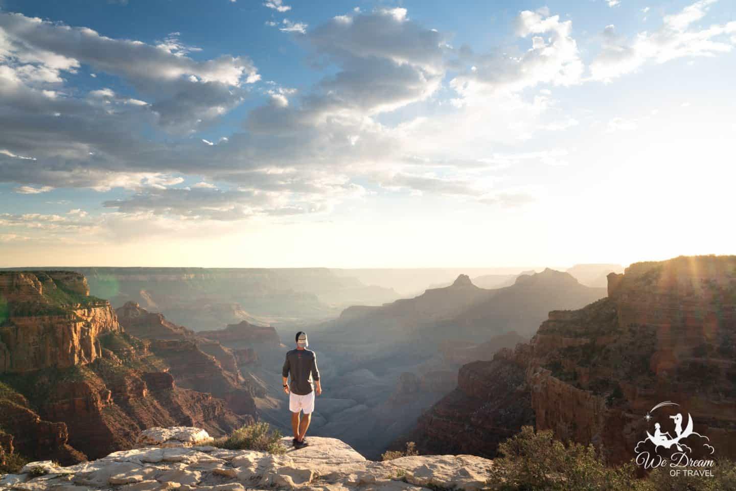 Using the tripod for a self-portrait on the rim of the Grand Canyon.
