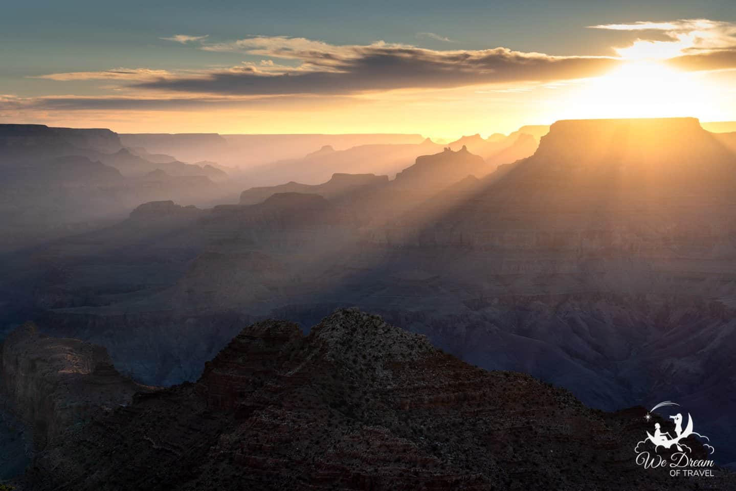 Amazing sunset to end a day at Grand Canyon.