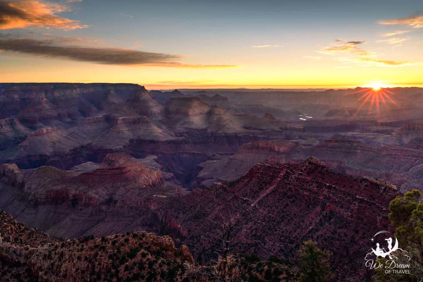 Sunrise photography from Grandview Point on the Grand Canyon South Rim.