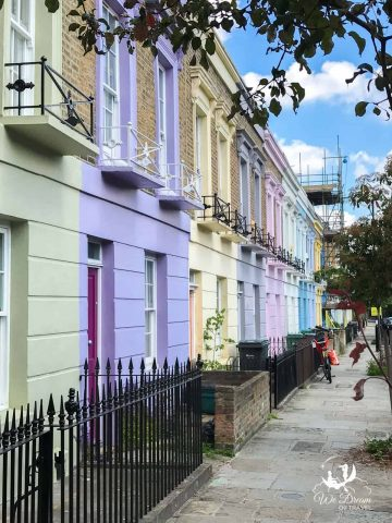 A row of vibrant colourful terraced houses in Hartland Road, Camden Town, London