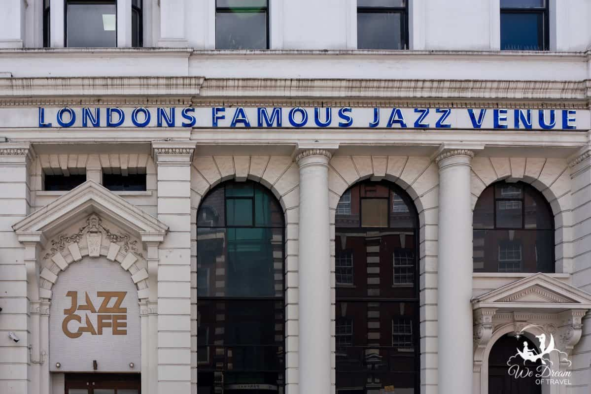 "Outside signage of The Jazz Cafe London, reading ""Londons Famous Jazz Venue"""