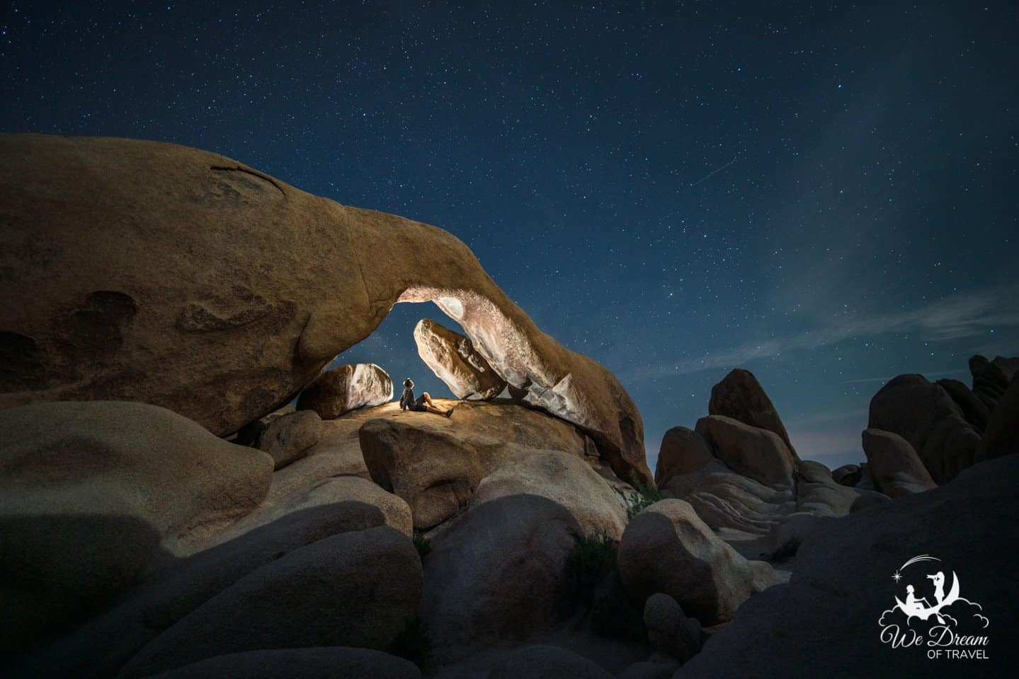 A photo showcasing the still of night while stargazing at Arch Rock in Joshua Tree.