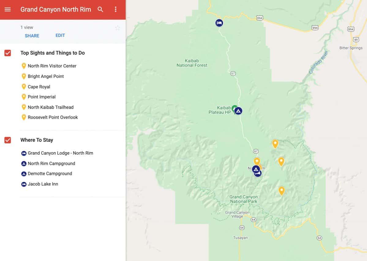 Google Map of North Rim Grand Canyon.