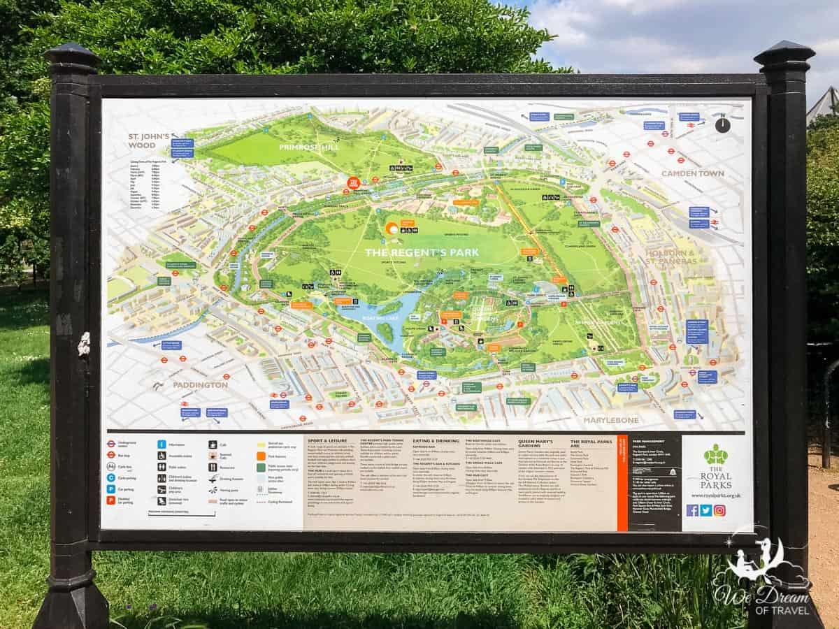 Map of The Regent's Park London.