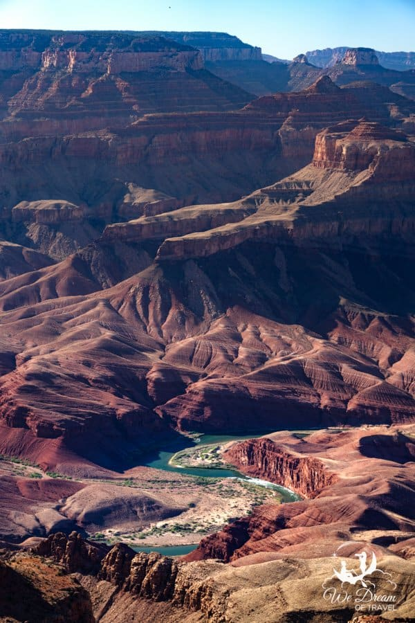 The Colorado River snakes through the canyon at Navajo Point on the Desert View Drive.