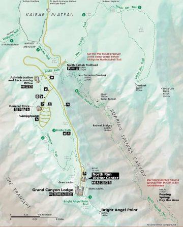 NPS Map of North Rim Grand Canyon.