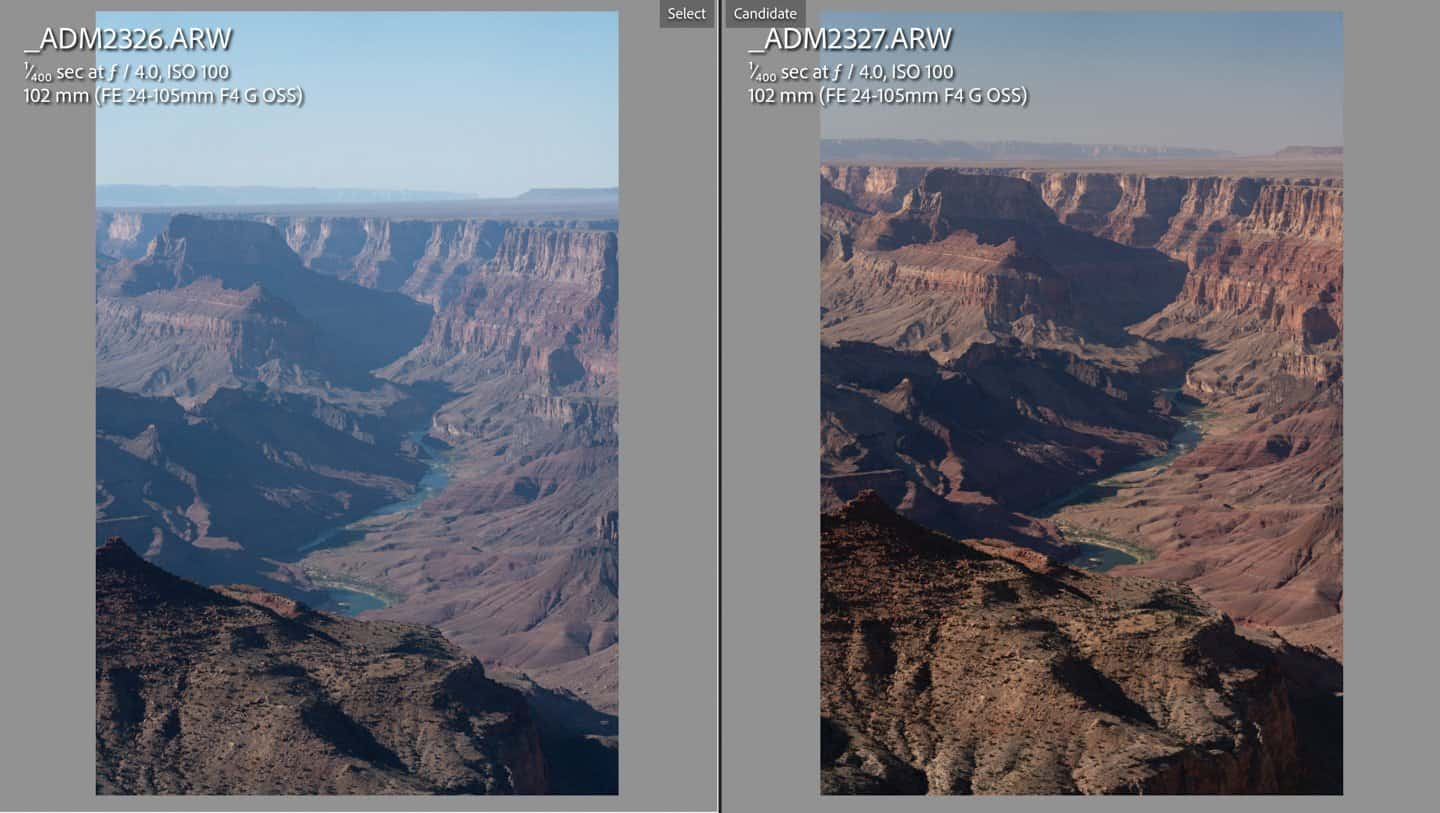 Side by side comparison of a photo of the Grand Canyon with and without a polarizing filter.