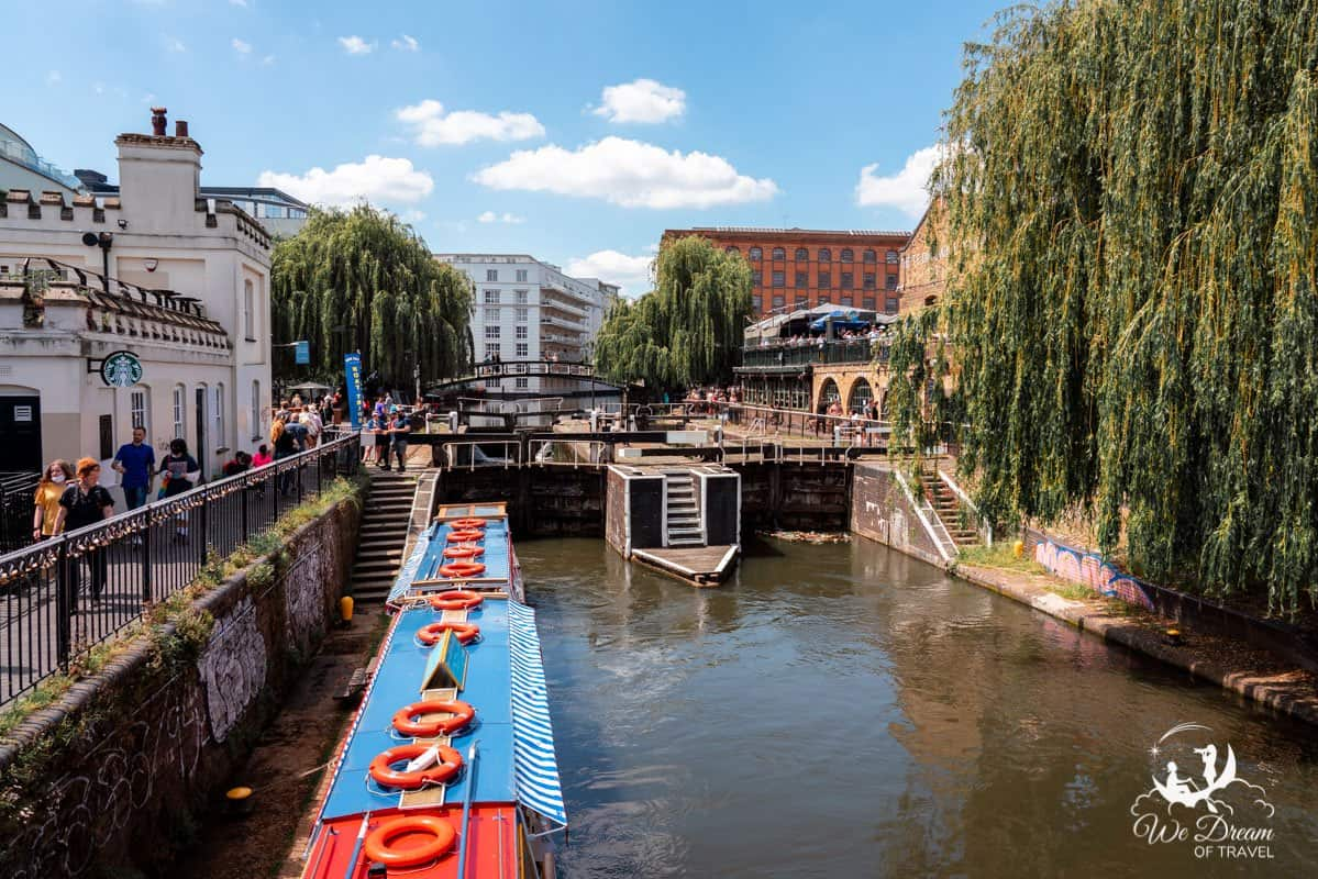 Narrowboats on the Regent's Canal at Camden Lock