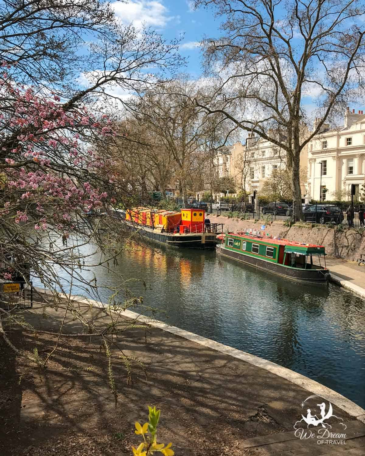 Colourful narrowboats on the Regent's Canal near Rembrandt Gardens in Little Venice London