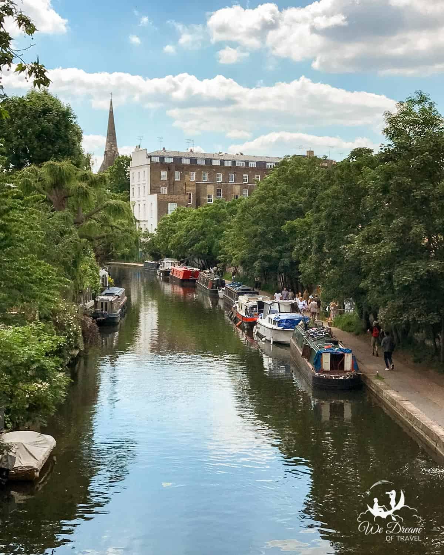 Narrow boats line the Regent's Canal near Regent's Park