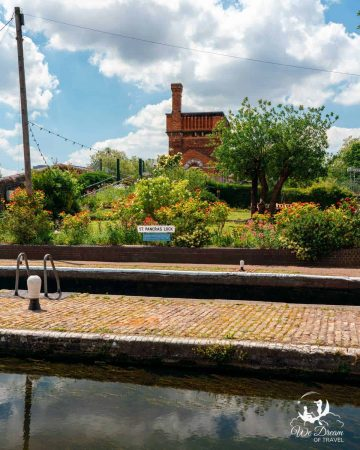 The vibrant garden at St. Pancras Lock on the Regent's Canal