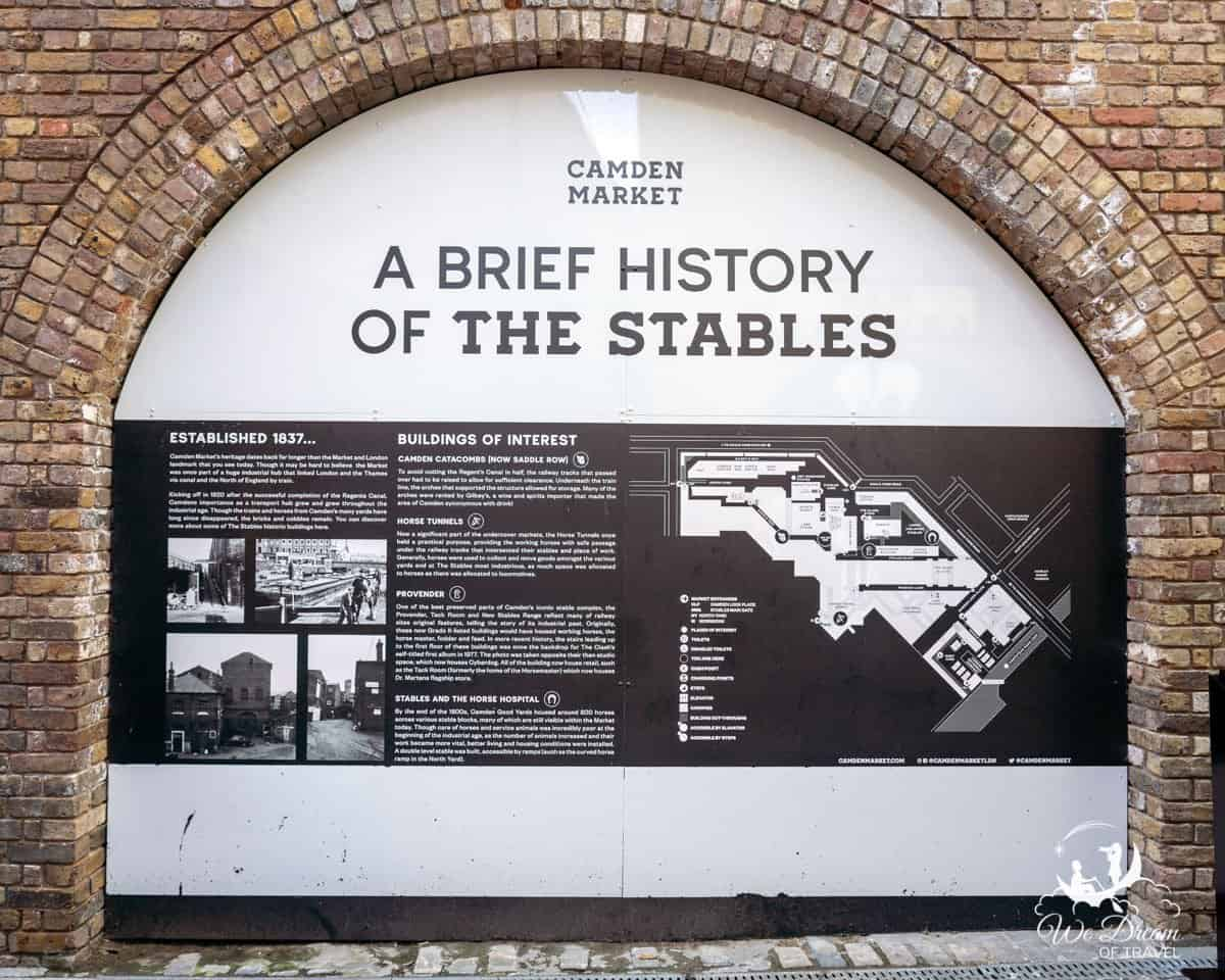 An exhibit that displays a brief history of the stables in Camden.