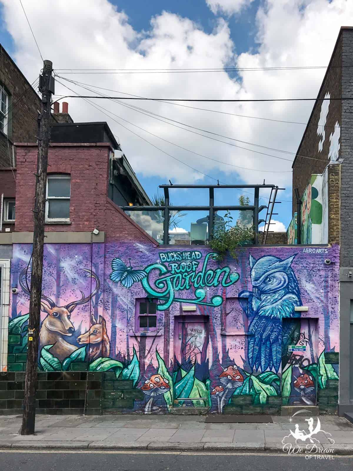 Bucks Head Roof Garden mural on the corner of Bucks Street and Camden High Street