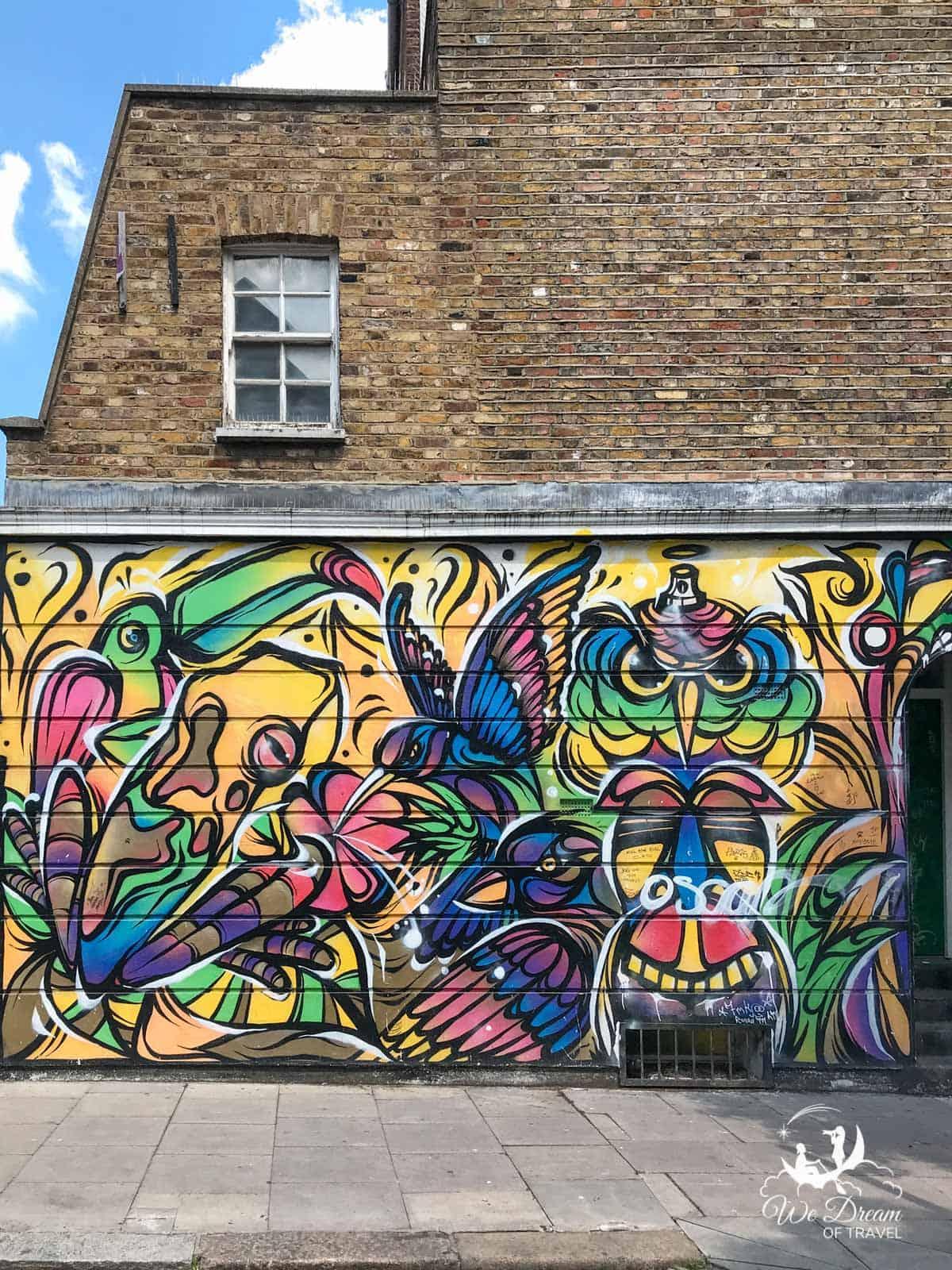 Vibrant street art in Dewsbury Terrace in Camden