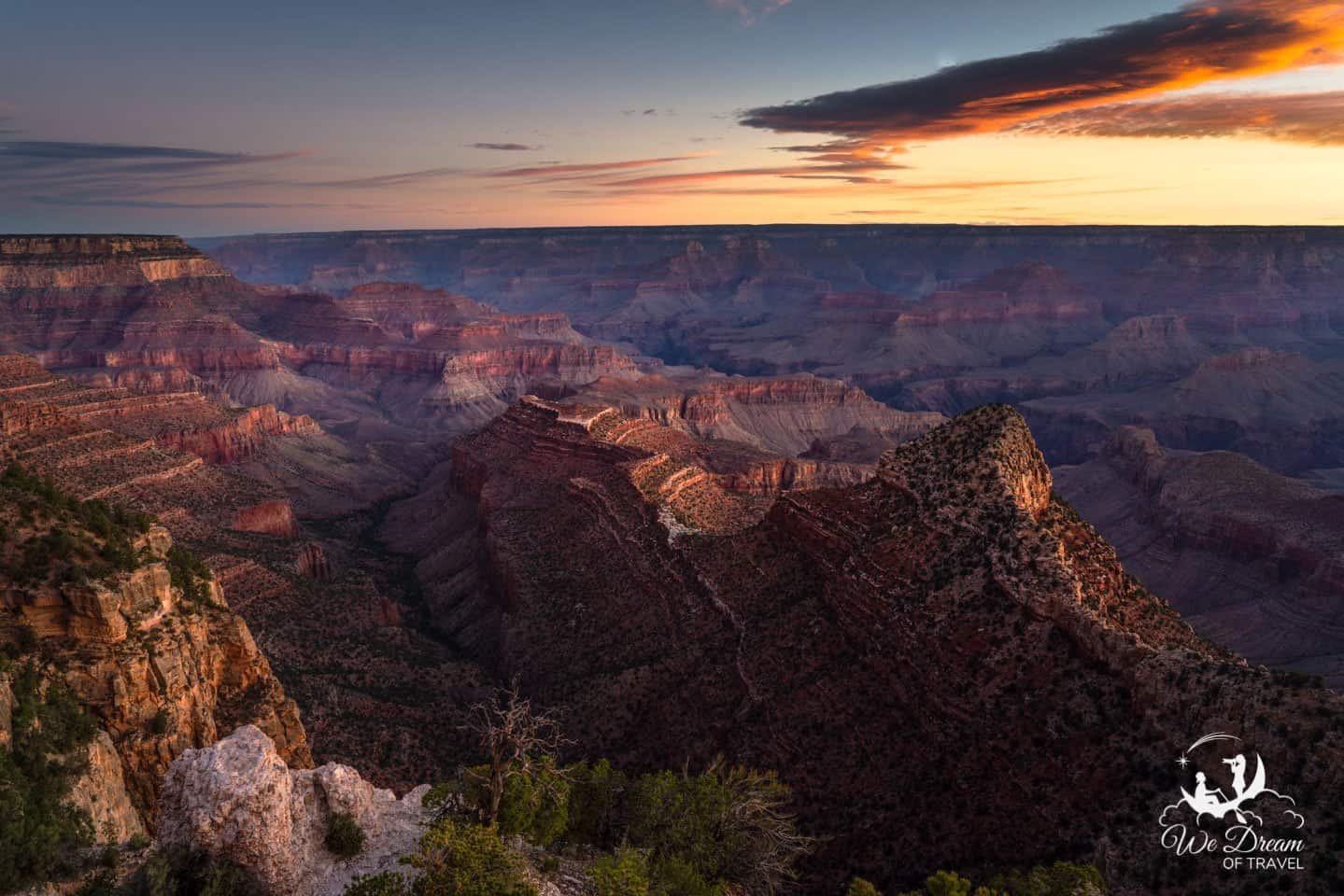 Morning is the best time to experience the Grand Canyon with beautiful light and less haze.