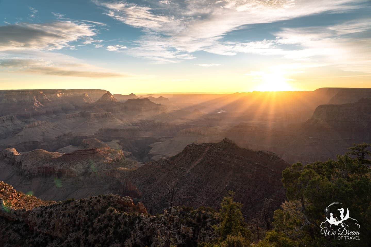 Begin your one day in Grand Canyon  road trip itinerary by watching the sunrise from Grandview Point.