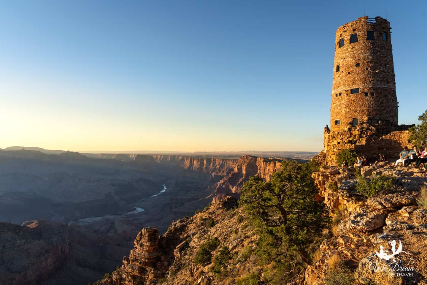 The Desert View Watchtower is a popular destination for sunset photography in Grand Canyon NP.
