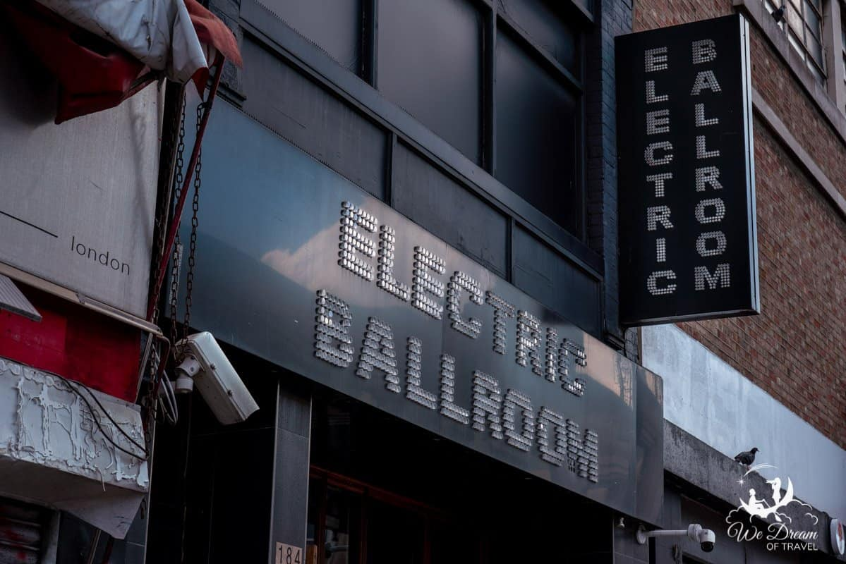 Outside sign for Electric Ballroom in Camden
