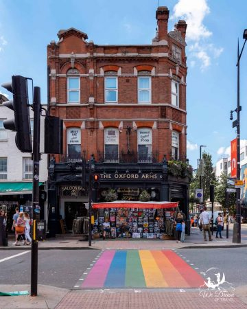 A rainbow pedestrian crossing in front of The Oxford Arms in Camden Town.