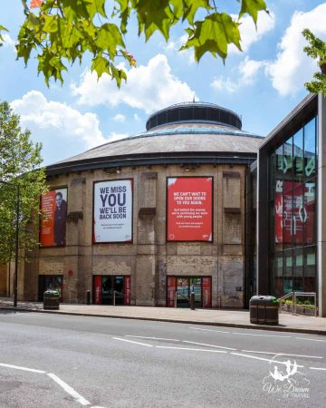 The exterior of Roundhouse, an iconic performance centre in Camden.