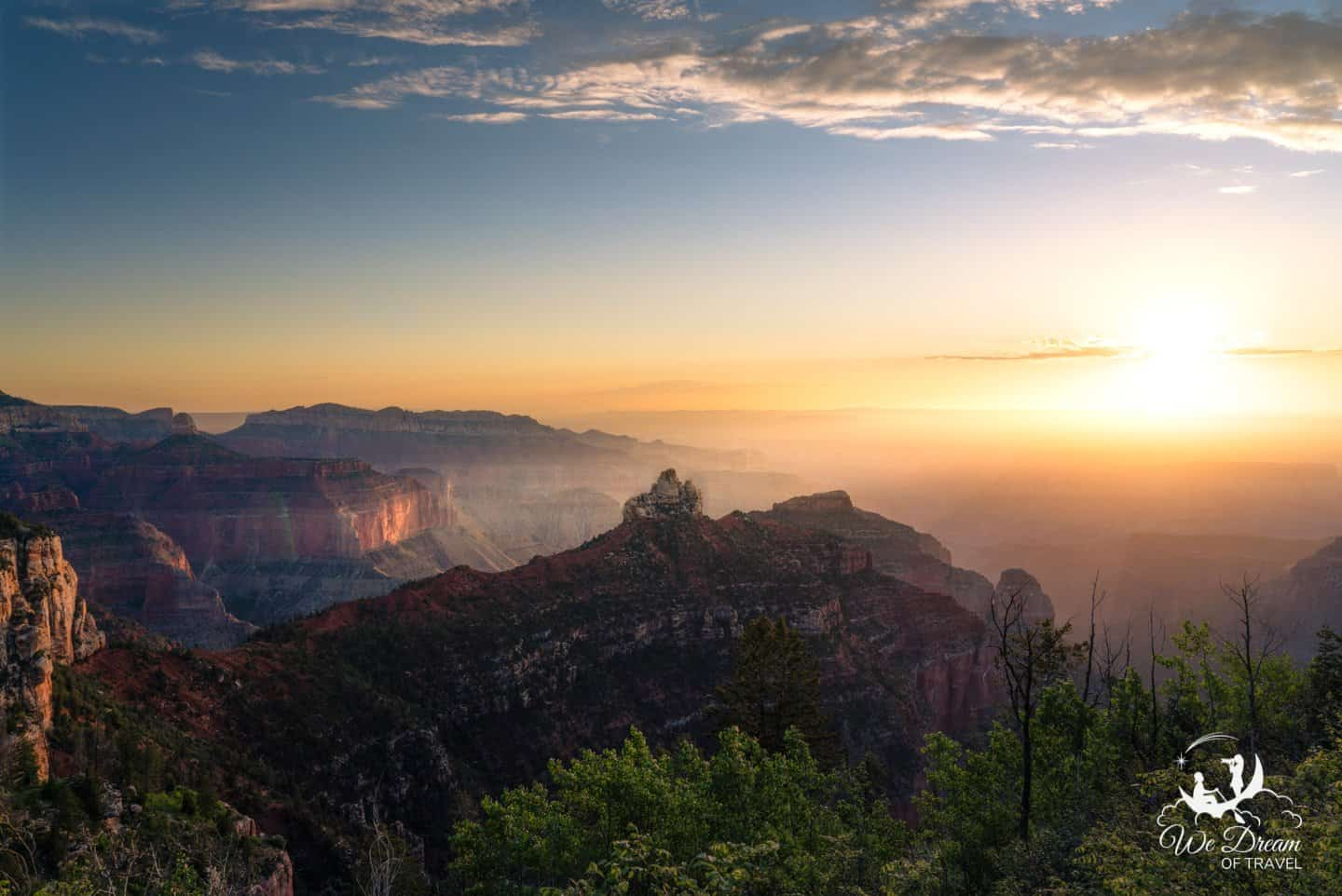 Vista Encantada has the most direct view of sunrise on the North Rim.