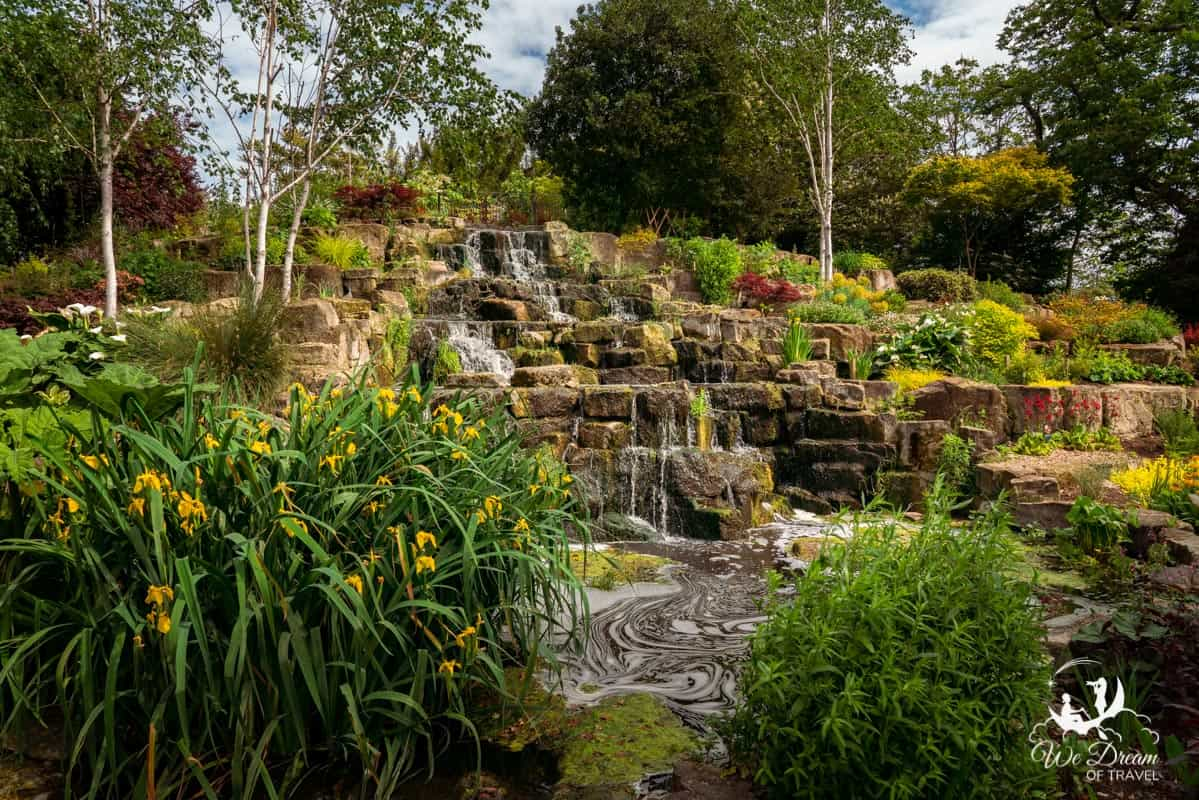 Waterfall and Japanese Garden within Queen Mary's Gardens, Regent's Park, London