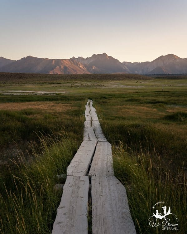 Wooden boardwalk leading to Hilltop hot spring Mammoth Lakes