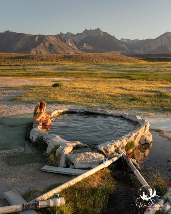 Hilltop Hot Springs overlooking the Sierra Mountains in the Long Valley Caldera, Mammoth, California