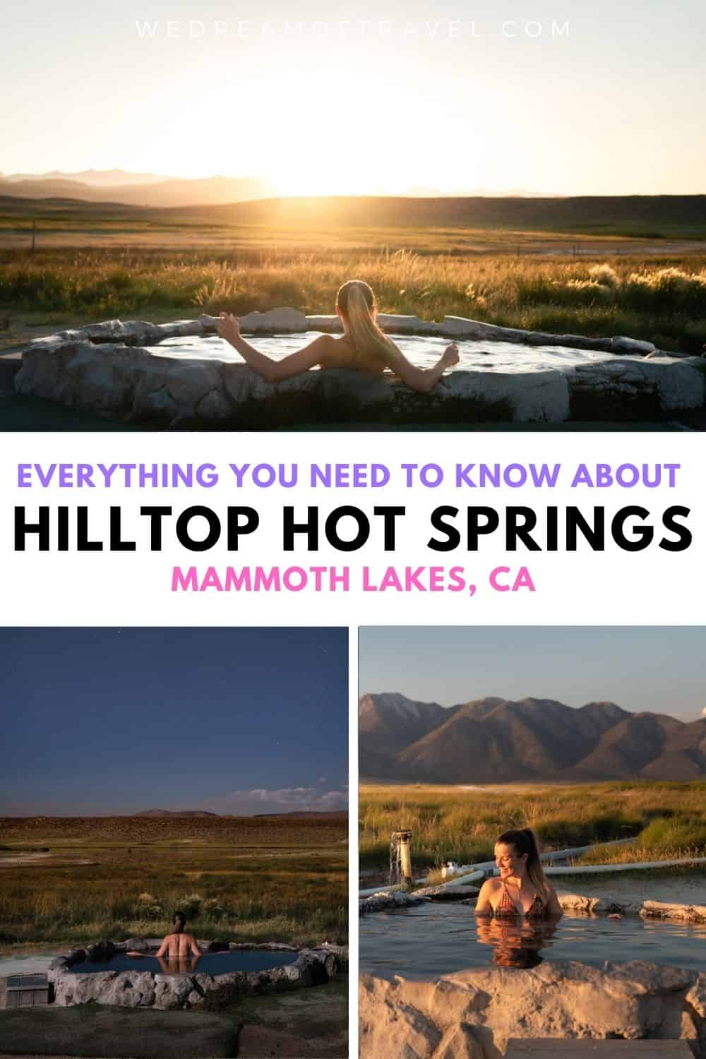 Find out everything you need to know about Hilltop Hot Springs, also known as Pulkey's Pool.  Located just outside Mammoth Lakes, this natural hot spring provides the perfect spot to relax and watch the sunset over the Sierra Mountains.