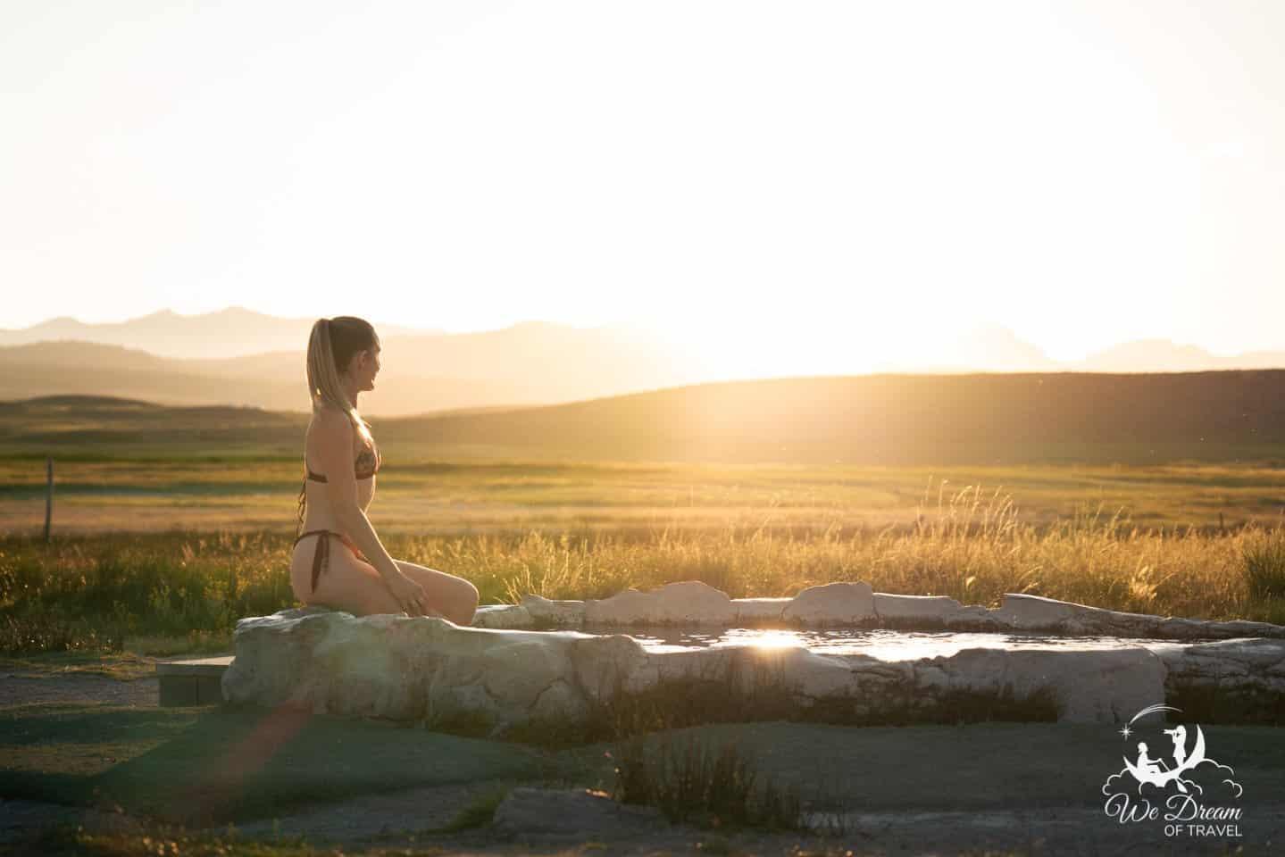 Golden hour at Hilltop Hot Springs