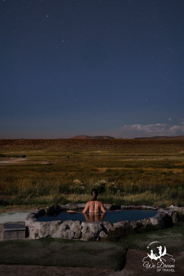 Pulkey's Pool aka. Hilltop Hot Springs under moonlight with a starlit sky