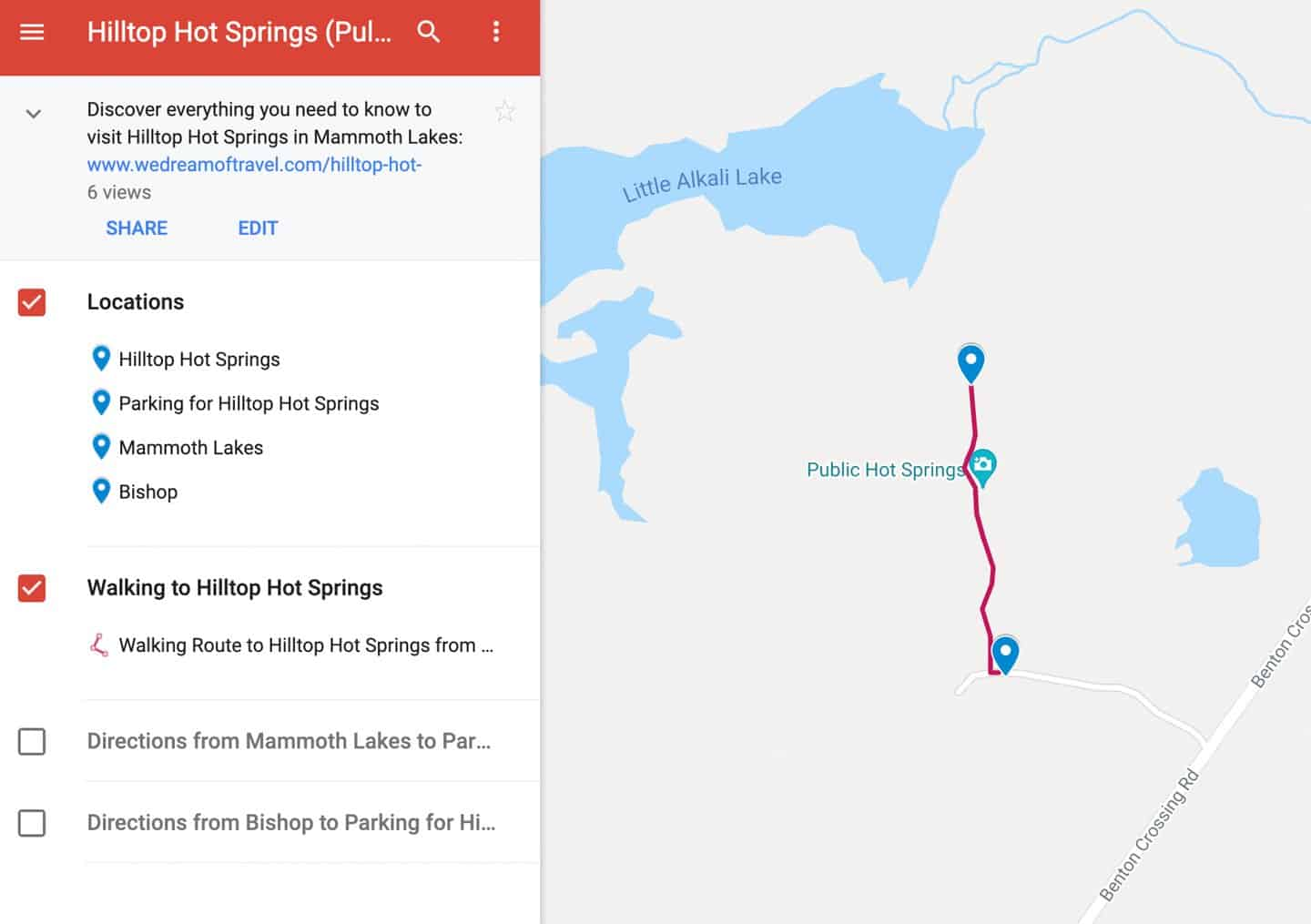 Google Map of Hilltop Hot Springs with walking and driving directions.