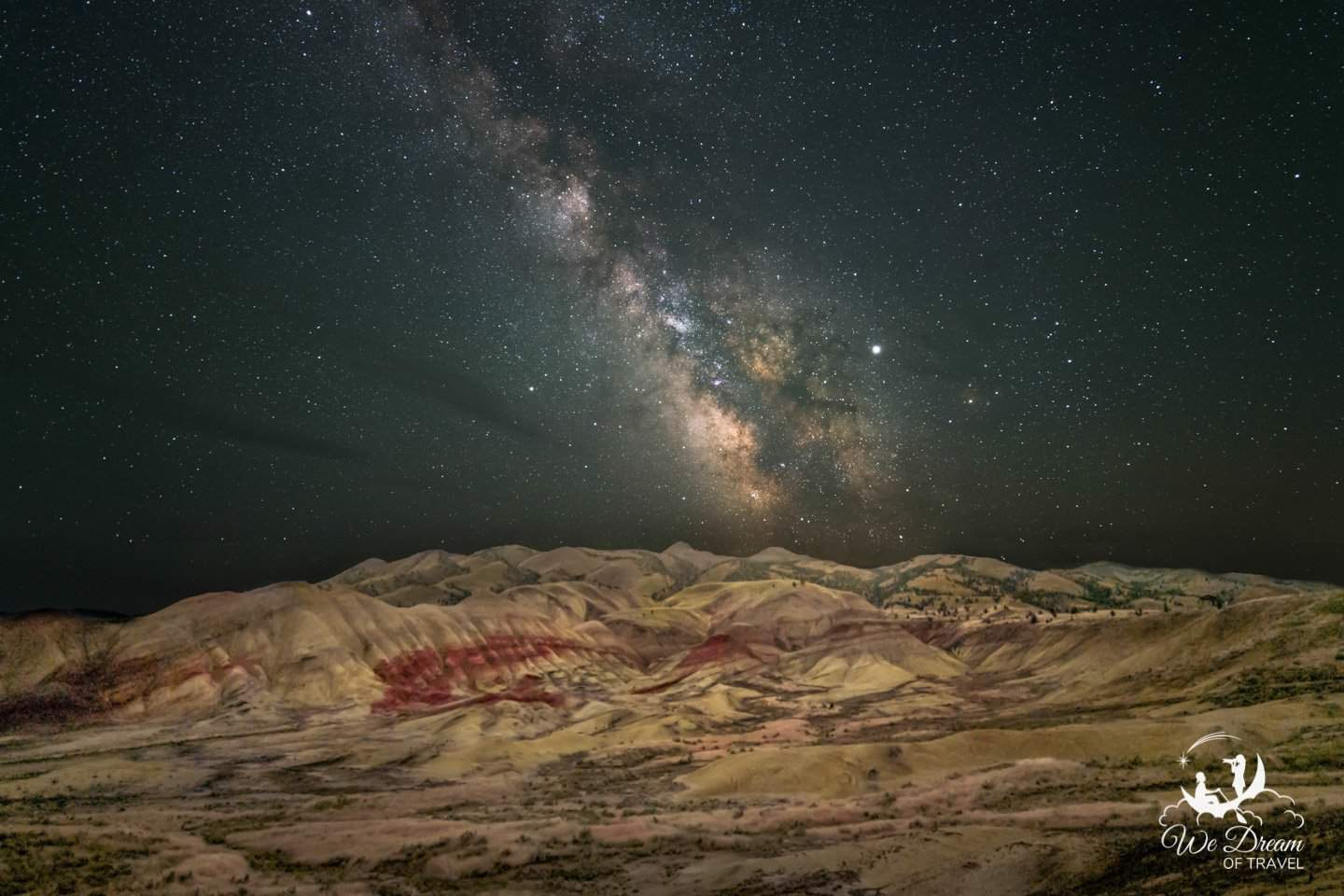 Night photography above the Oregon Painted Hills featuring the Milky Way galaxy rising.