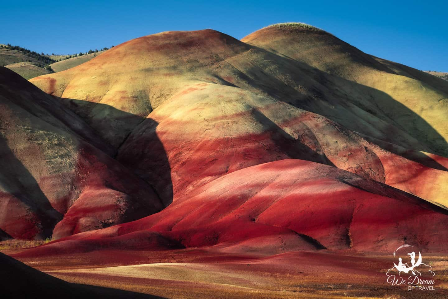 Sunset light on the Fossil Beds in the Painted Hills Unit.