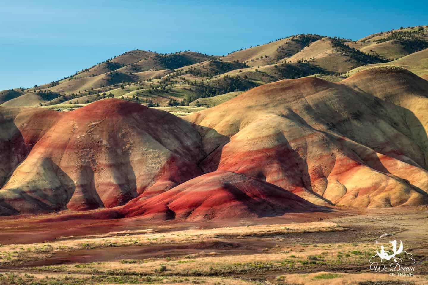 The most vibrant and interesting landscapes in the Painted Hills Unit are seen from the Painted Hills Overlook Trail.
