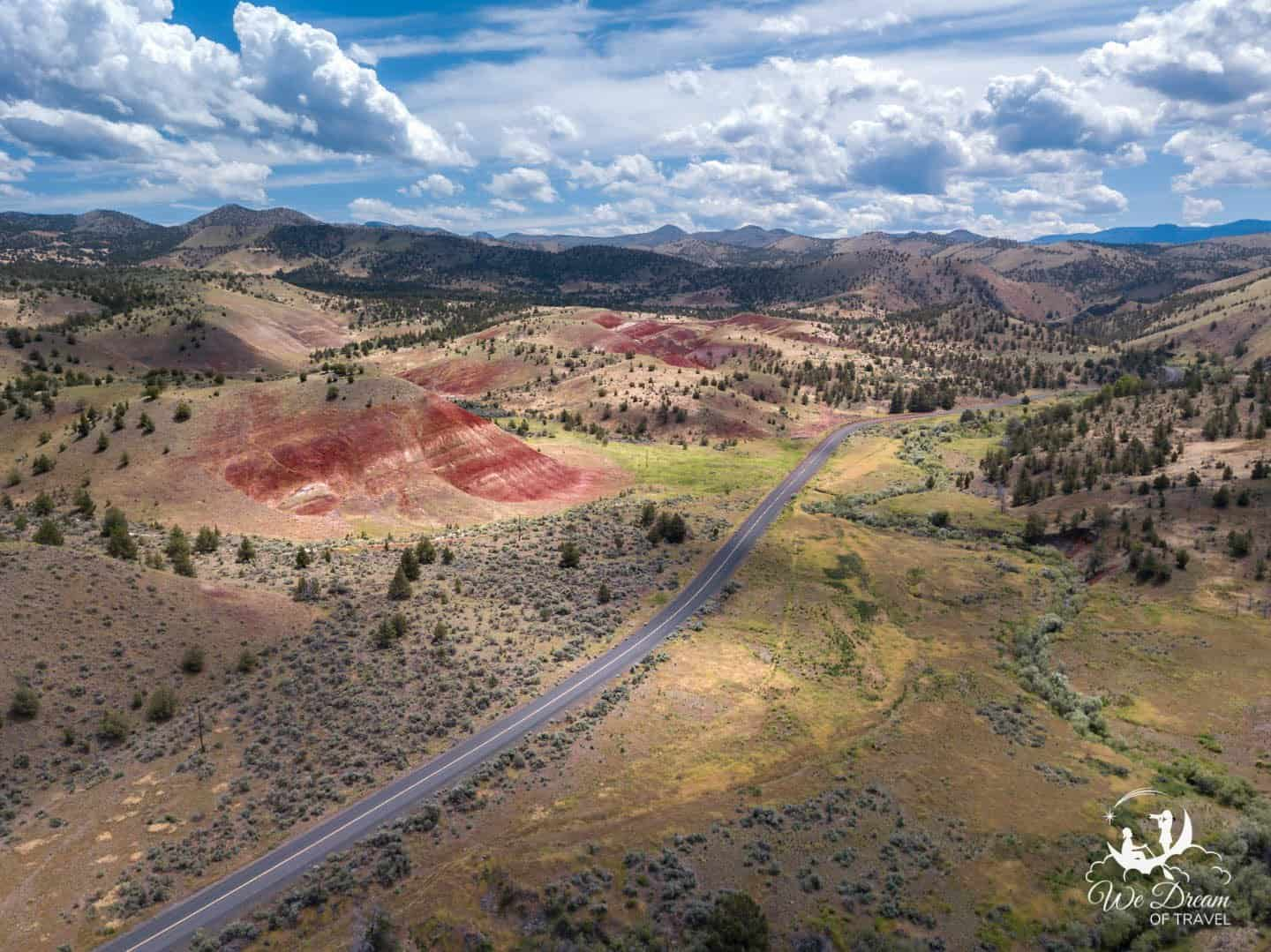 Take the scenic Bridge Creek Road to explore the incredible Painted Hills of Oregon.